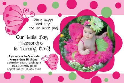 Butterfly Heart invitation 5x7 with photo Birthday Party Ideas