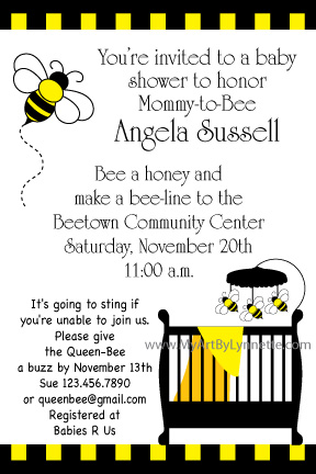 bee baby shower invitations with the cutest bee mobile on the baby