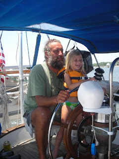 Mark & Tiger Lily at the helm