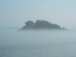 Island emerging from the fog
