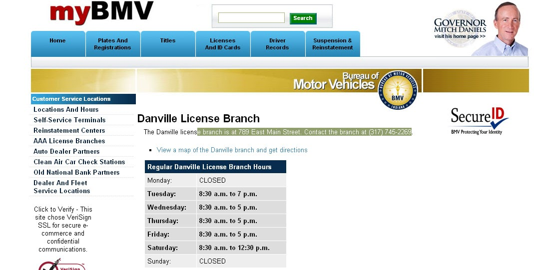 ... spammed too?: Danville BMV location and hours Hendricks County Indiana