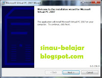 Instal Aplikasi Virtual PC 2007