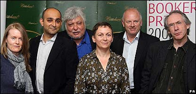 The six shortlisted authors: Nicola Barker, Mohsin Hamid, Indra Sinha, Anne Enright, Lloyd Jones and Ian McEwan