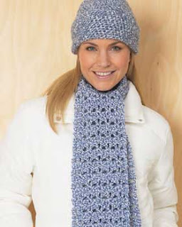 crochet scarf: blue scarf and hat set