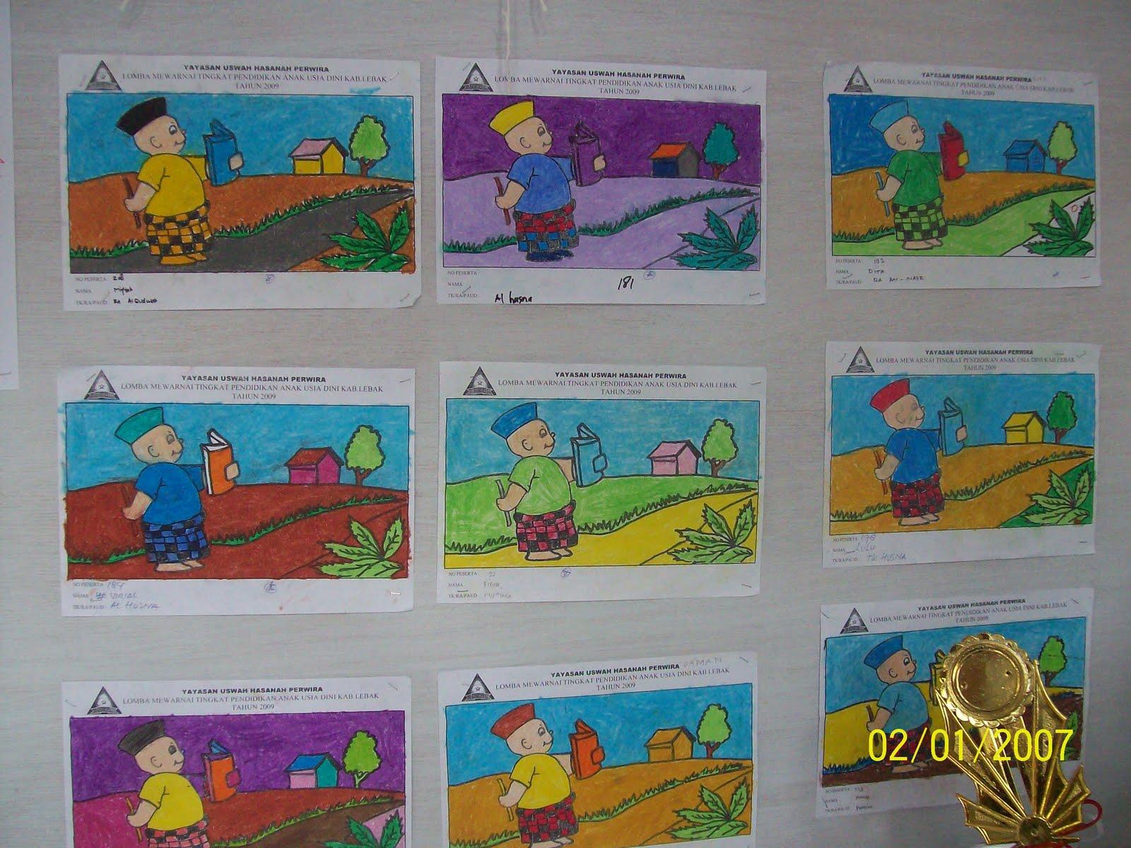 Gambar disamping merupakan hasil dari lomba mewarnai anak anak usia dini hasil lomba tsb benar benar sesuai dengan spesipikasi dari katagori penilaian
