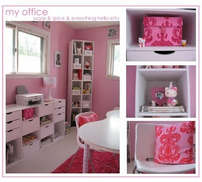 Hello kitty themed office! Very cute and i love all the packing space!