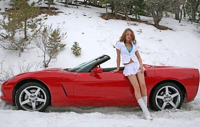 Pure American Muscle Brunette In Corvette Stuck In Snow