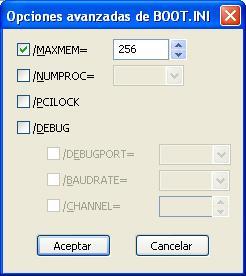 BOOT.INI: Opciones avanzadas