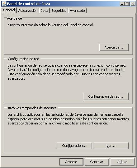 Panel de control de Java