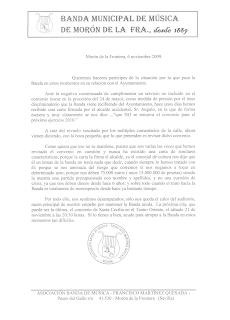Carta de la Banda Municipal de Morón de la Frontera