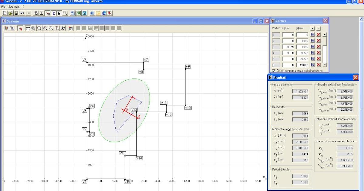 Sezioni programma freeware per il calcolo delle propriet inerziali ingegneria e dintorni - Programma per calcolo posa piastrelle ...