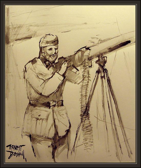 DIVISION AZUL-BLAU DIVISION-SOLDADOS-SOLDIERS-AMETRALLADOR-ERNEST DESCALS-PINTURAS