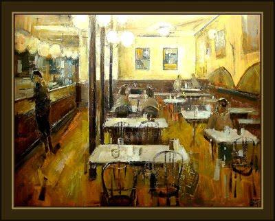 Cuadros ernest descals pinturas cafeteria de barcelona - Cuadros de interiores ...