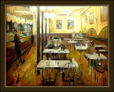 cuadros ernest descals pinturas cafeteria de barcelona