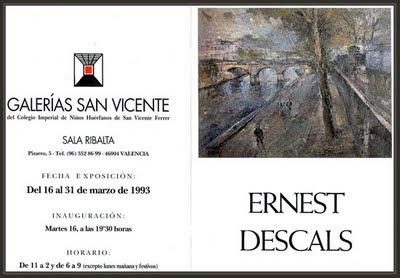 VALENCIA-CATALOGO DE LA EXPOSICION DE ERNEST DESCALS EN GALERIAS SAN VICENTE-PINTURAS DE PARIS