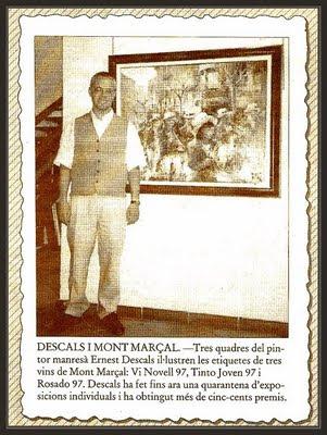 ETIQUETAS-ERNEST DESCALS-VINOS MONT MARÇAL-PRENSA-PERIODICOS