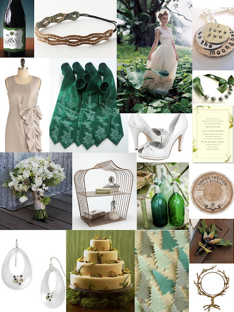 Forest Green Bronze and Silver Wedding Color Inspiration Board