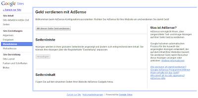 Mit Google Sites erstellte Webpräsenz mit AdSense-Anzeigen