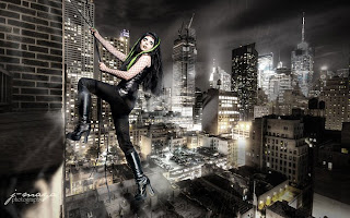 Ophelia's Overdose climbing building in Cybergoth wear
