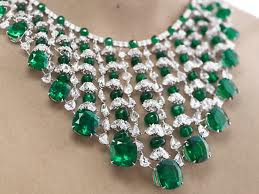 Diamond Necklace designs with green stone