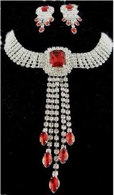 Superb Red and White Stone Necklace designs