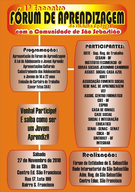 1º Encontro Fórum de Aprendizagem do Distrito Federal com a Comunidade de São Sebastião