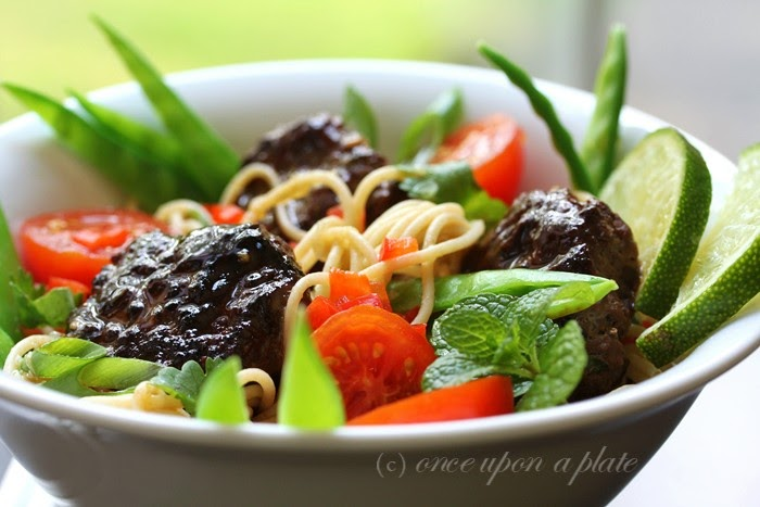 ... Upon a Plate: Ginger Beef or Chicken Patties with Lime Noodle Salad
