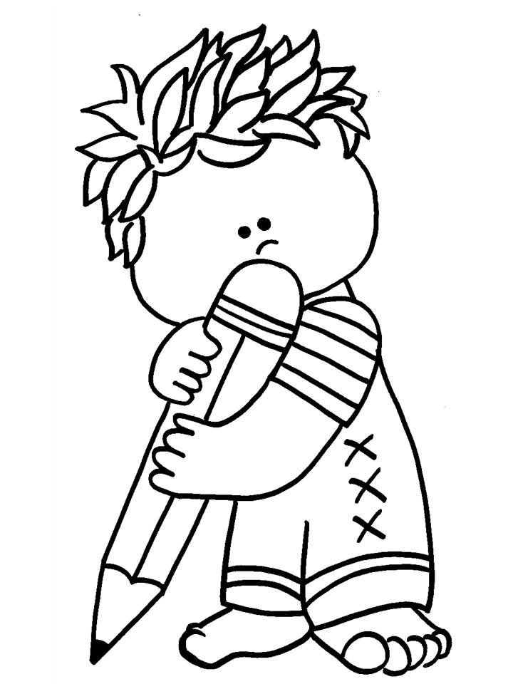 Niño con Lápiz para colorear