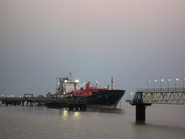 The tanker at dusk