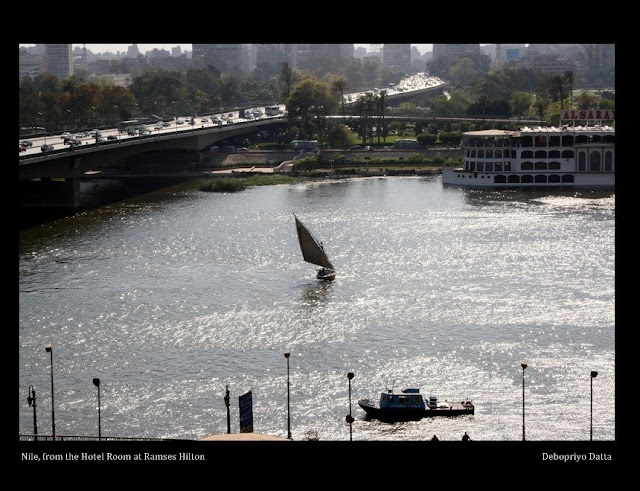 The Nile from my room at Ramses Hilton, Cairo. The bridge is called the 6th October bridge.