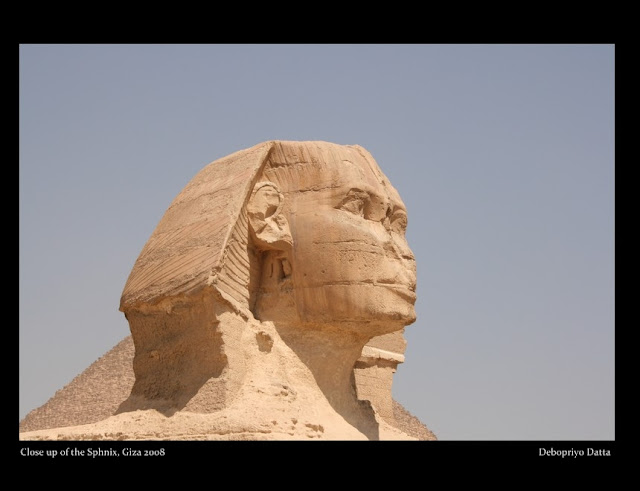 Surveying the sands of Giza, the great Sphinx has stood guard since about 2500 B.C. Created for Pharaoh Khafre, who also built the second pyramid at Giza, the Sphinx has the body of a lion and the face, it's believed, of the pharaoh. It stands 66 feet (20 meters) high and was carved from limestone bedrock. Though it is badly eroded, the Great Sphinx has survived over 4,500 years of searing sun and political turmoil.