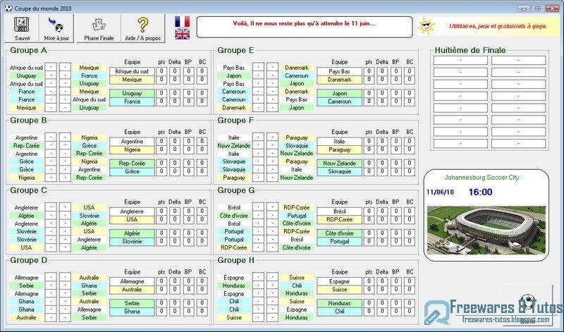Coupe du monde 2010 un logiciel autonome pour faire vos pronostics et suivre les r sultats de - Resultat coupe du monde 2010 ...