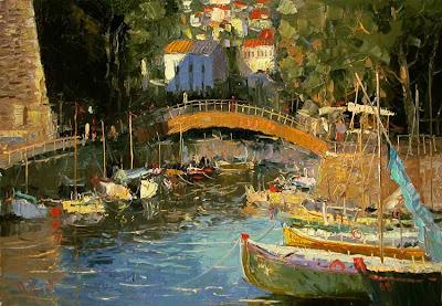 Russian Artist Oleg Trofimoff. Boat Painting