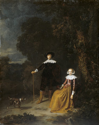 Gerrit Dou Painting. Portrait of a Couple in a Landscape