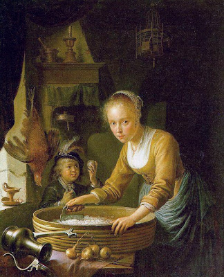 Gerrit Dou Painting A Girl Chopping Onions