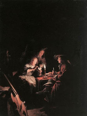 Gerrit Dou Painting Cardplayers at Candlelight