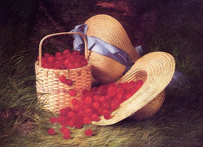 Still Life painting by Robert Spear Dunning. Harvest of Cherries