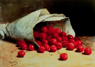 Still Life painting by Antoine Vollon. A Spilled Bag of Cherries