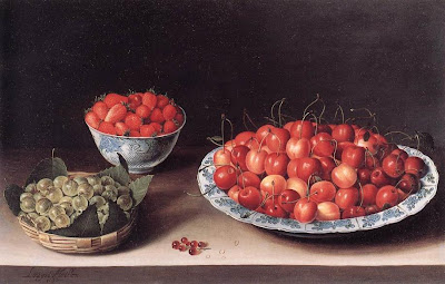 Still Life painting by Louise Moillon. Still Life with Cherries, Strawberries and Gooseberries, 1630