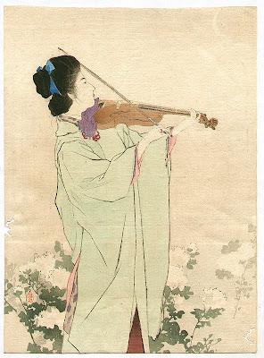Japanese Artist Kiyokata Kaburagi. Violin Player