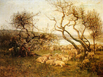Spring Bloom in Painting. Louis Aime Japy, Tending The Flock In A Blossoming landscape
