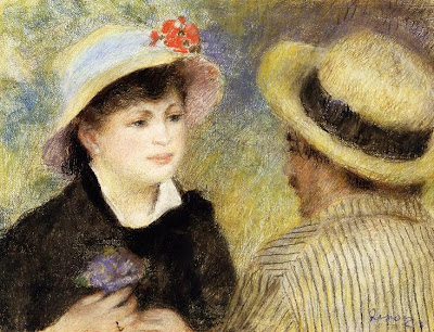 Painting by Pierre-Auguste Renoir Boating Couple(also known as Aline Charigot and Renoir), 1880-81
