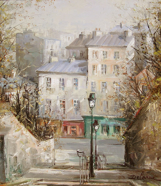 Lucien Delarue,Paris in painting,watercolor,French artist,modern art