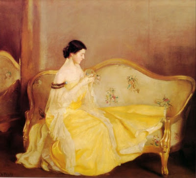 William McGregor Paxton,Crystal Ball in Painting, oil paintings, canvas painting,Figurative painting