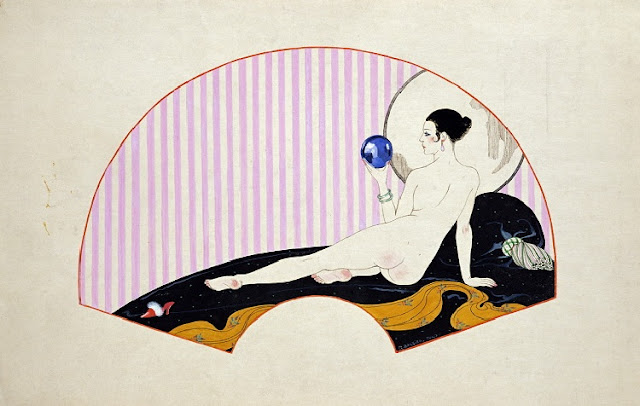 Georges Barbier, Odalisque With A Crystal Ball, Crystal Ball in Painting, oil paintings, canvas painting,Figurative painting