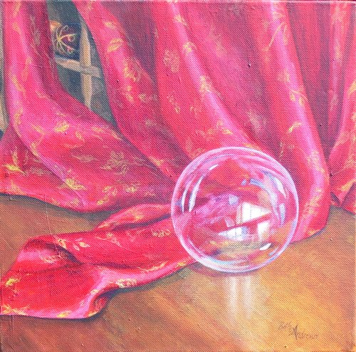 Beth Andrews Red Silk and Crystal Ball,Crystal Ball in Painting, oil paintings, canvas painting,Figurative painting