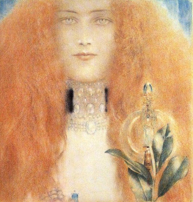 Fernand Khnopff Head of a Woman,Crystal Ball in Painting, oil paintings, canvas painting,Figurative painting