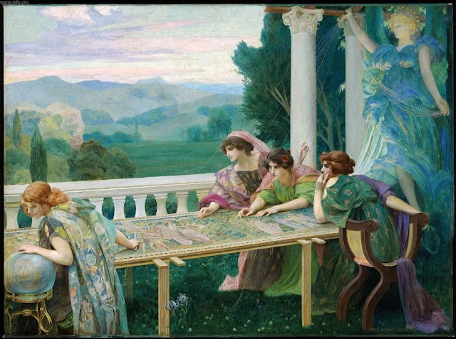 Henry Siddons Mowbray Le Destin,Crystal Ball in Painting, oil paintings, canvas painting,Figurative painting