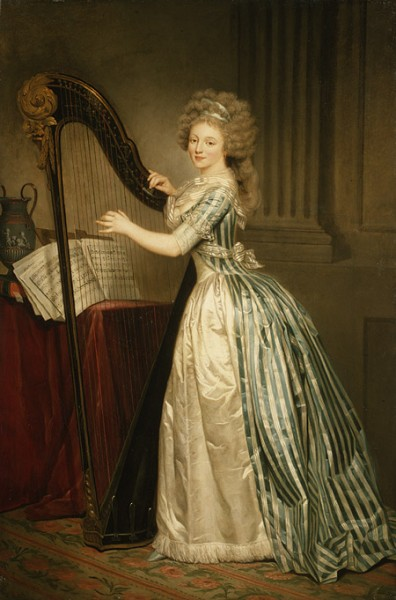 Women and Music in Painting 16-18th c, Rose-Adelaide Ducreux, Self-Portrait with a Harp