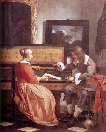 Women and Music in Painting 16-18th c, Gabriel Metsu, Man and Woman Sitting at the Virginal